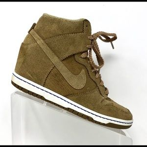 new style 2ed89 89862 Nike Dunk Sky Hi Suede Bamboo Wedge Sneakers